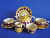 Early Clarice Cliff Original Bizarre 'Purple Diamonds' Tea for Two Set c1928
